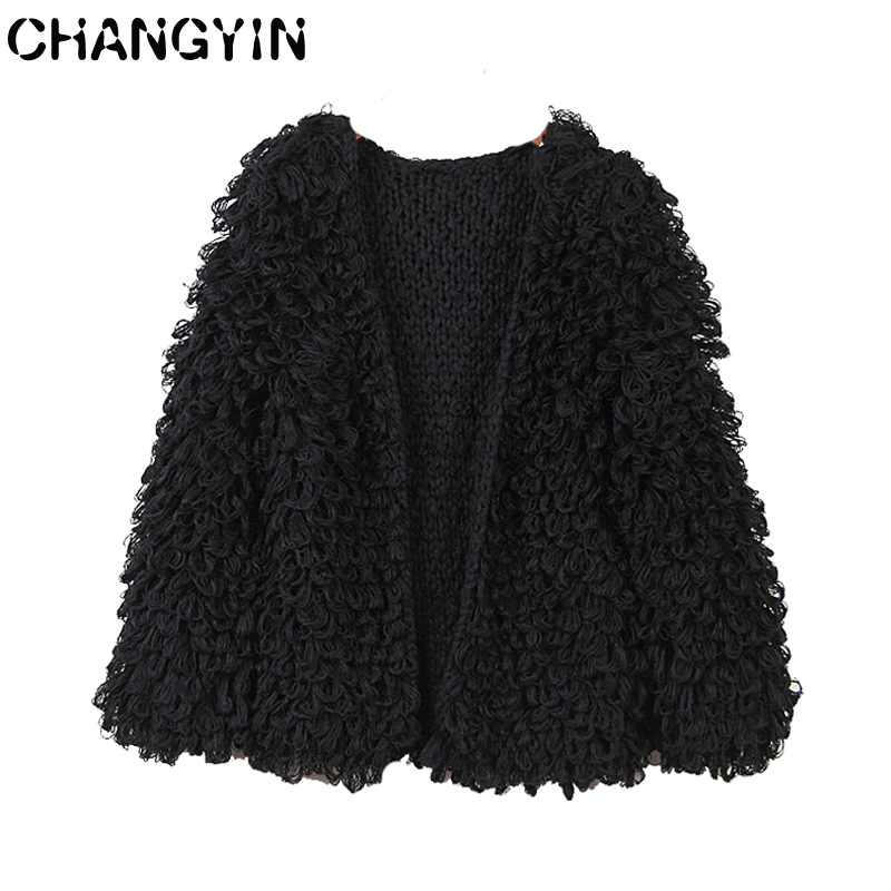 CHANGYIN Black Cardigan Sweater For Women Round Collar Long Sleeve Fashion Solid color Knitted Open Front Cardigan Coat