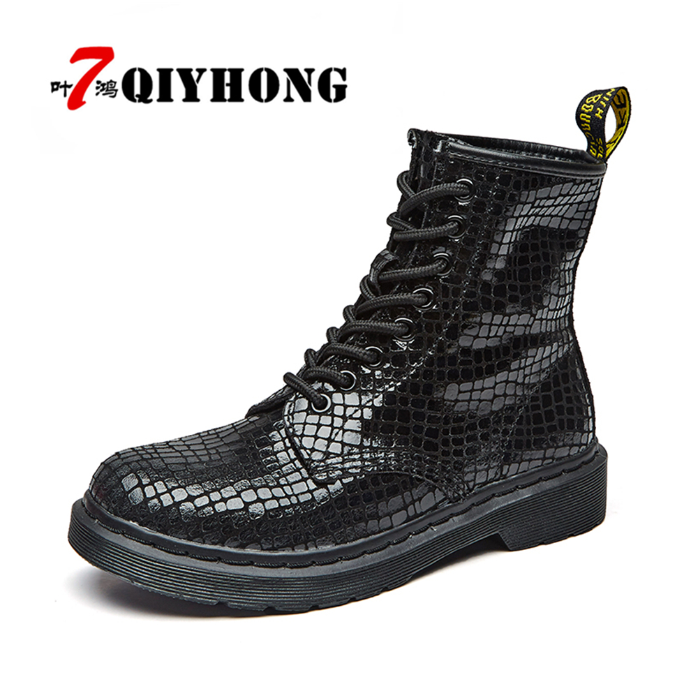 Botas Mujer Women Martin Boots Winter Warm Shoes  Punk Flat Heel Boots Fashion Women'S Black Sequins Boots Woman Feminina Ankle e toy word boots women fashion autumn martin boots warm women shoes ankle boots for women winter botas mujer wedges ankle boots