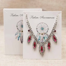 Hotsale 24pcs 10*8cm necklace Card  large Thank you package&display card Feather pattern jewerly display