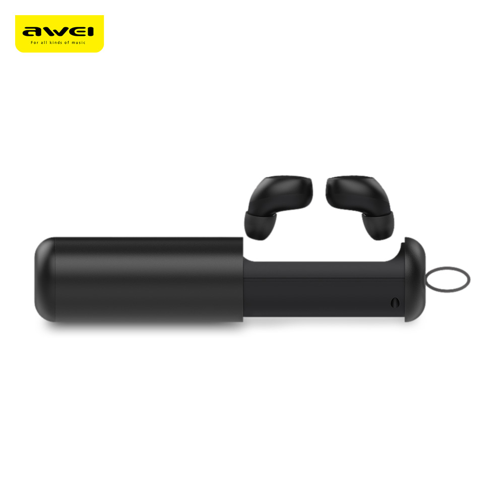 Awei <font><b>T5</b></font> <font><b>TWS</b></font> Twins True Wireless Bluetooth V5.0 Earbuds IPX4 Sweat-Proof In-Ear Earphones With Charging Base HD MIC Power Bank image