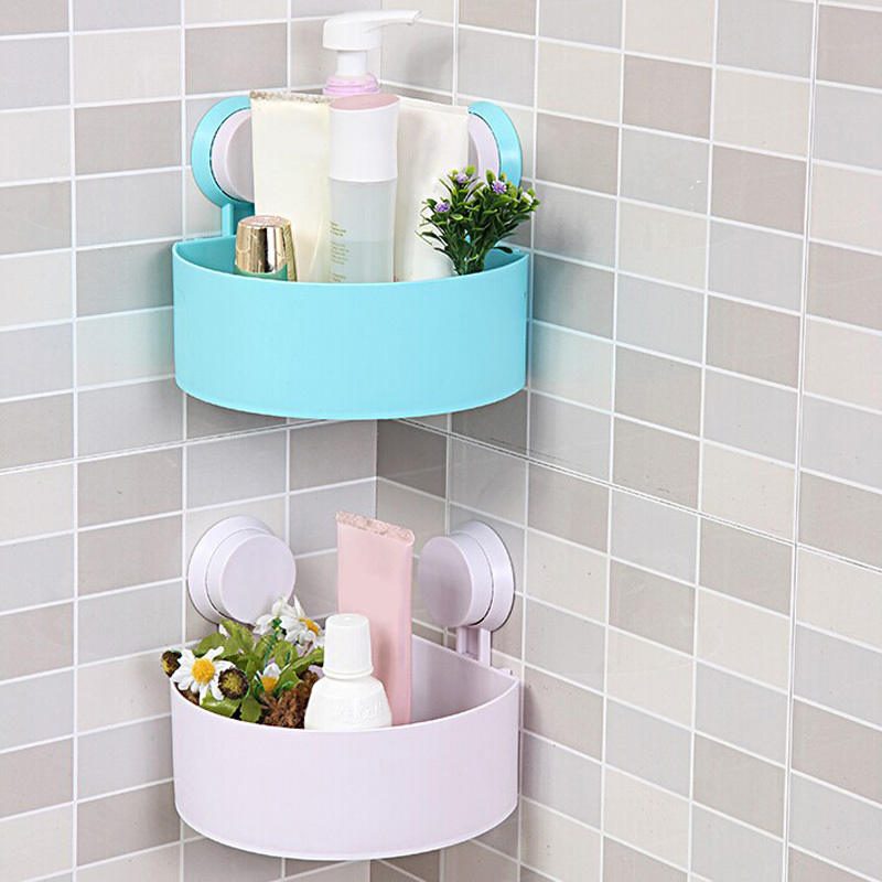 Sucker Corner Triangle Shelf Bathroom Kitchen Storage Rack Free ...