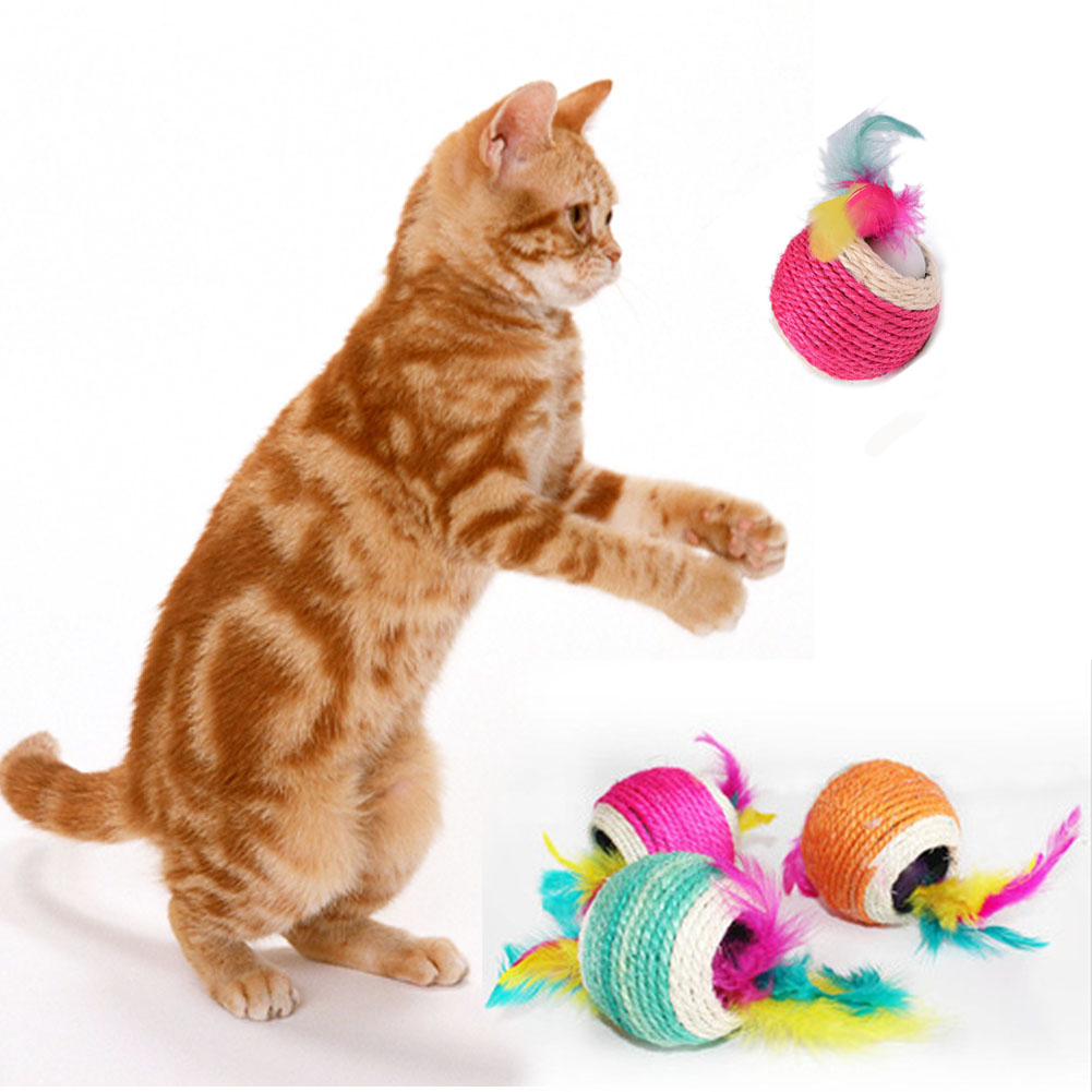 Cat Toys Balls : Sisal hemp cat toys pet plaything balls six holes
