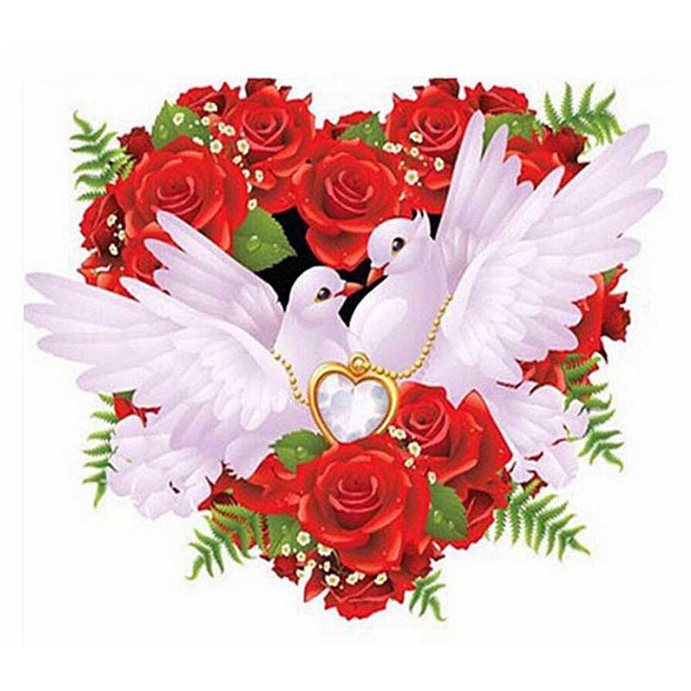 Новый алмаз вышивка цветок голубь 5D DIY алмазов картина вышивки крестом полный квадратный декор из алмазной мозаики Картины узор ZF93