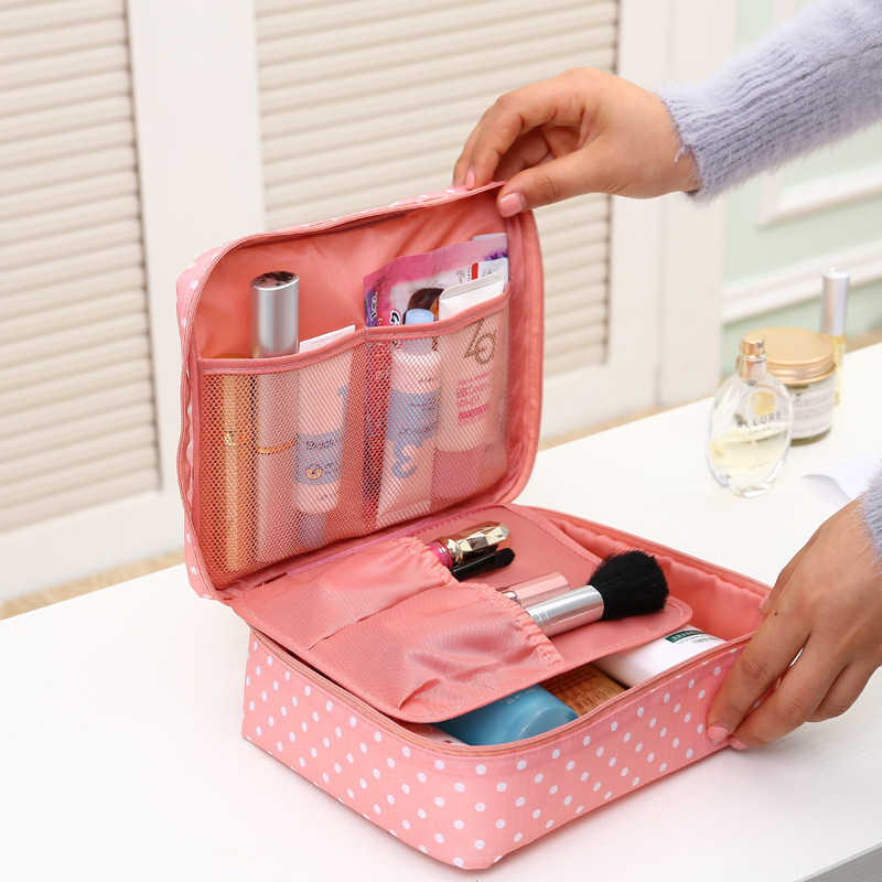 Beautician Vanity Neceser Necessaire Women Travel Toiletry Pencil Make Up Makeup Case Storage Pouch Purse Organizer Cosmetic Bag