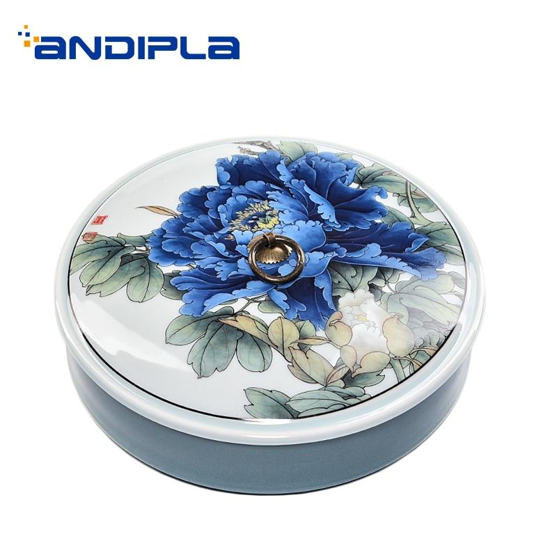 Style chinois thé boîte de rangement Puer thé support de gâteau peint à la main fleur motif en céramique Teaware fruits pâtisserie ronde plaque décor-in Thé Caddies from Maison & Animalerie    1