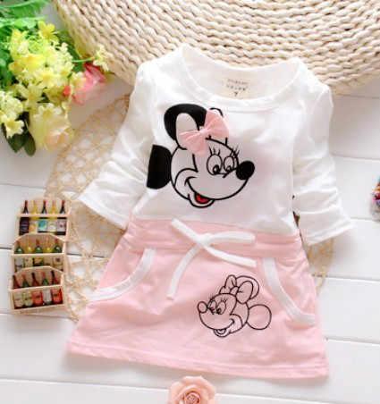 Camisa Da Menina T 2018 Nova Moda Das Meninas do bebê Vestido de Terno para o Bebê 100% Puro Algodão Verão Minnie Princesa Beleza
