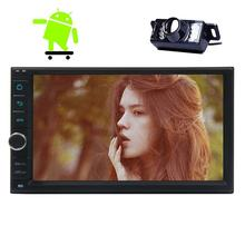 Android 6.0 Wifi 2 Din Car Stereo Head Unit GPS Navigation Car Stereo with Capacitive Screen FM Radio for Universal Car+Camera