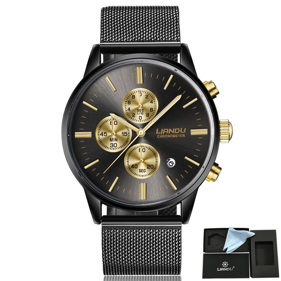 HTB1.TUqQXXXXXXhXVXXq6xXFXXXF - LIANDU Gold Black Luxury Fashion Watch for Men