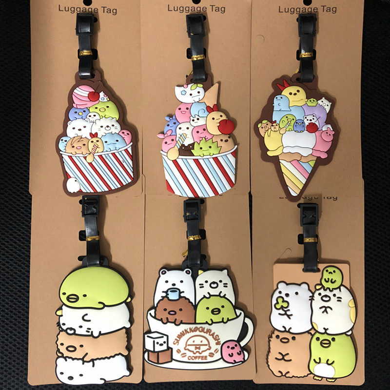 8 Style Luggage Tag Soft Silica Gel Suitcase Tag Name Address Holder Cute Bears Baggage Boarding Tags Label