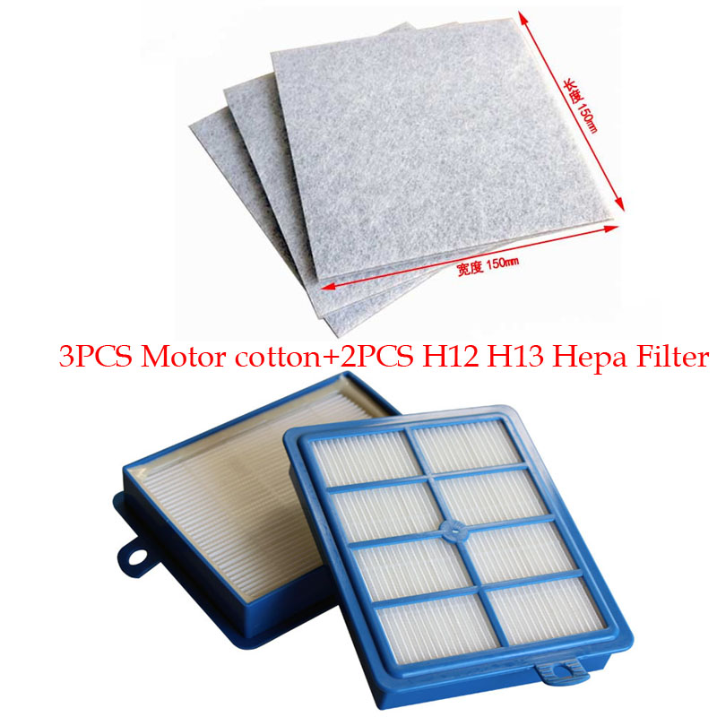 2PCS Hepa Filter H12 H13+3 PCS Motor cotton filter for Philips Electrolux Vacuum Cleaner replacement parts 1 piece vacuum cleaner h12 hepa filter replacement for philips electrolux efh12w aef12w fc8031 el012w h12 filters