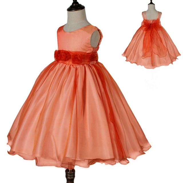 Free shipping formal kids dress 2018 new design orange flower girl free shipping formal kids dress 2018 new design orange flower girl dresses organza mid calf party mightylinksfo