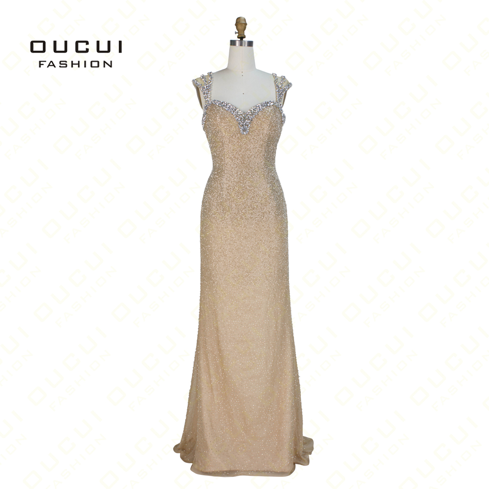 Oucui Newest handmade crystal gold   evening     dress   elegant sequined cap sleeve mermaid   dresses   for women formal party OL102739