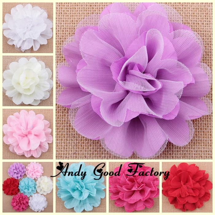 30pcs New Big 4.5inch Mesh Flowers Chic Chiffon Kids Headband Flower Artificial Hair Clips Accessories Girls Fabric Flower