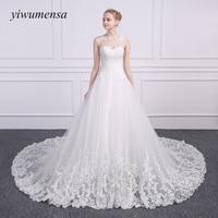 Yiwumensa Robe de Noiva Dentelle Une ligne robes de mariée 2018 Custom made Illusion Train Royal appliques dentelle de mariage robe de mariée