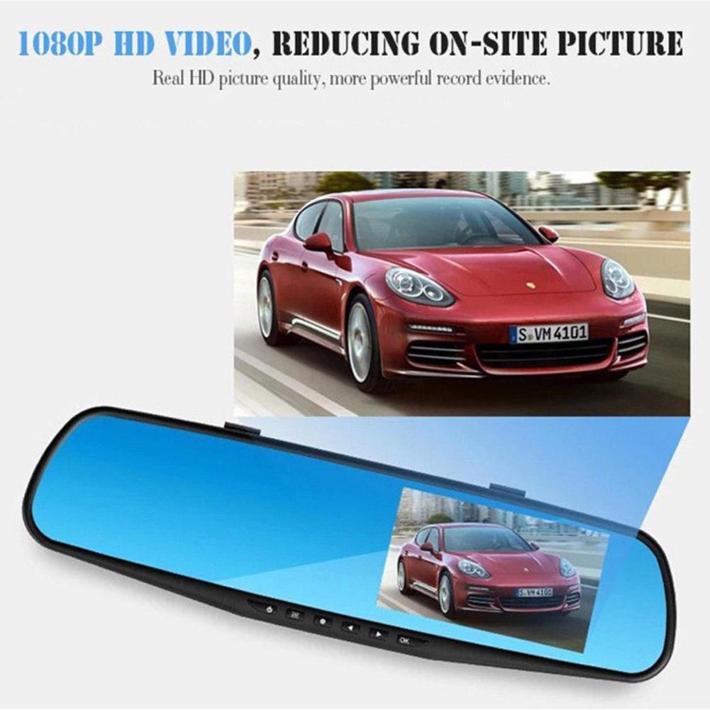4.3 Pollici Dello Specchio Di Automobile Dvr Macchina Fotografica Dell'automobile Dvr Hd 1080 P Rear View Mirror Digital Video Recorder Dual Lens Auto Dash Cam