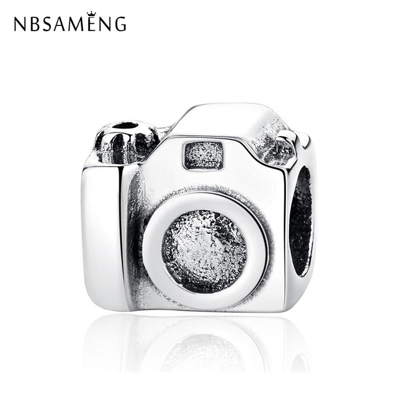 Real 100 925 Sterling Silver Bead Charms European Vintage Camera