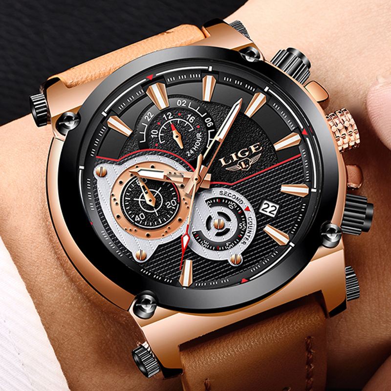 LIGE Men's Sports Quartz Watches Men Dress Business Watch Fashion Casual Big Dial Waterproof Military Brown Leather Male Clock lige 2017 new men s watches male quartz watch men real three dial luminous waterproof 30m outdoor sports leather watch man clock