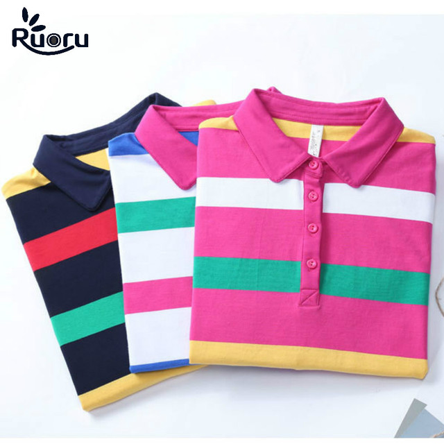 Us 16 92 39 Off Ruoru M 4xl Plus Size Striped Women Polo Fashion Slim Striped Polo Shirt Women Autumn Winter Long Sleeve Polo Femme Casual In Polo