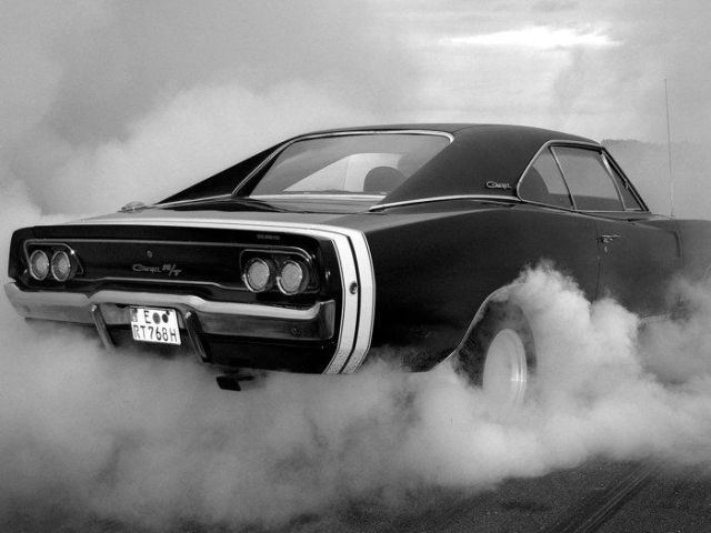 Dodge Charger RT BW Muscle Car Auto Silk Poster Art