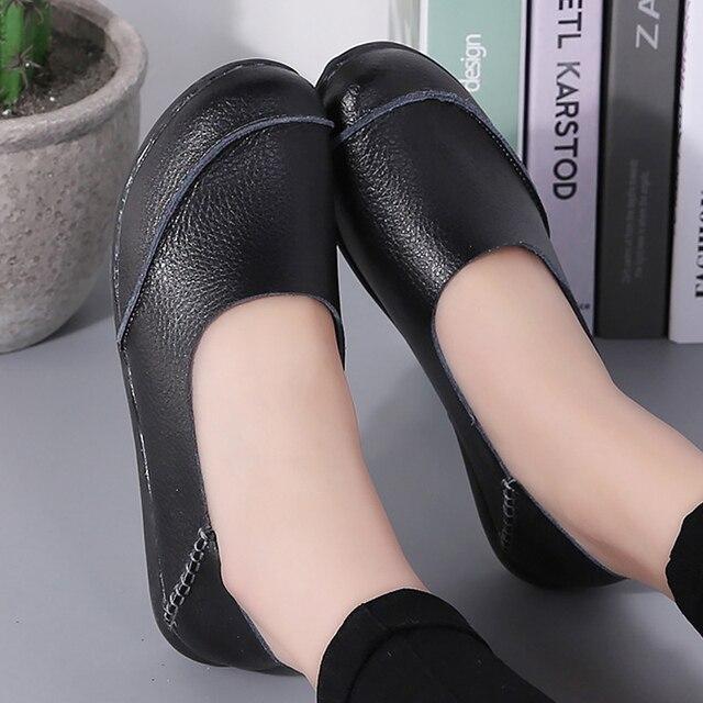 bba7b30e9 مريحة السيدات قارب الأحذية الجلدية حقيقية كبيرة الحجم 35-44 النساء الشقق  أحذية لينة السيدات كسول حذاء chaussure فام