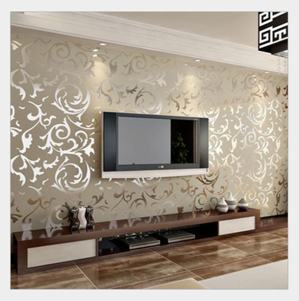 Online buy wholesale silver desktop wallpaper from china for B q living room wallpaper