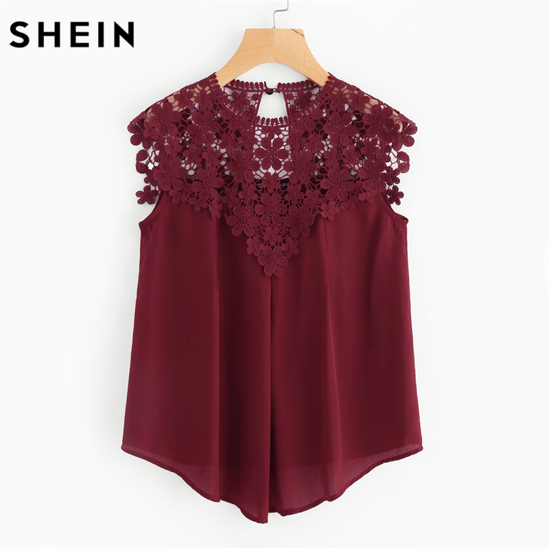 SHEIN Burgundy Sleeveless Round Neck Sexy Blouse Keyhole Button Back Daisy Lace Shoulder Shell Top Women Elegant Blouses