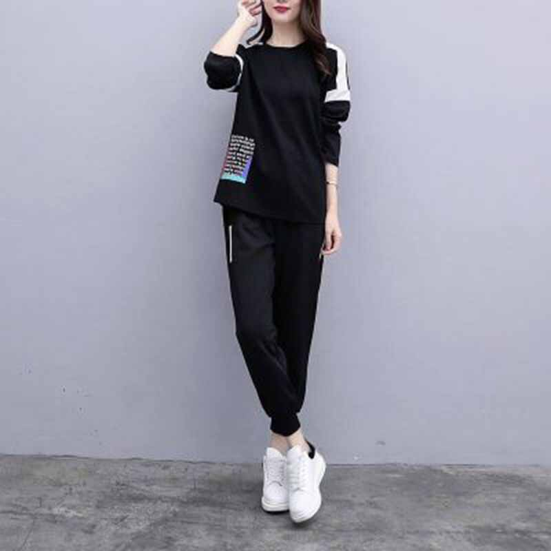 2 Piece Suit 4XL Size Loose Sporting Suit Female 2019 Spring Autumn New  Sportswear Set Women's Large Tracksuit Women Pants Sets