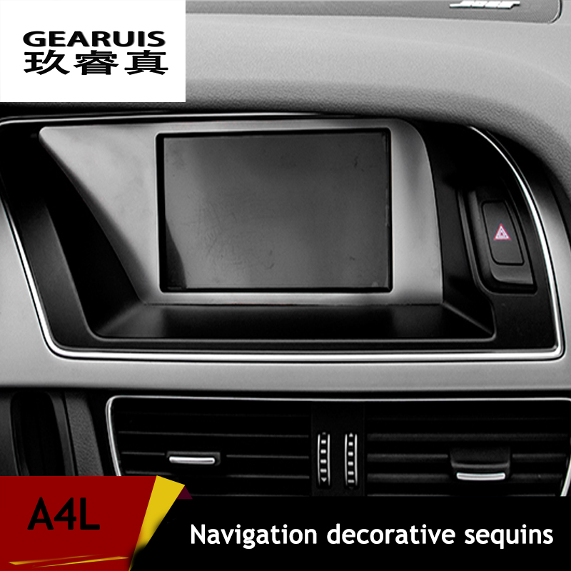 stainless steel car center console navigation decorative frame cover trim warning light panel. Black Bedroom Furniture Sets. Home Design Ideas