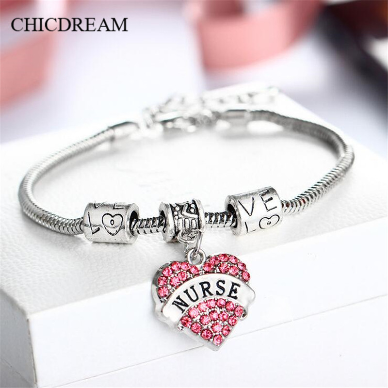 CHICDREAM breloque Bracelet infirmière Bracelet bijoux en cristal amant docteur Bracelet bébé soeur femmes médical nounou bijoux 2018