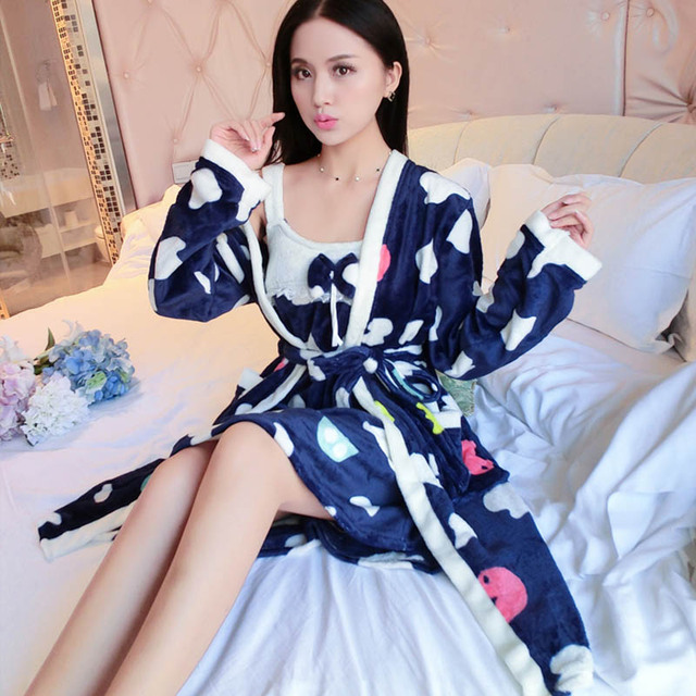 5401f0b925 Thickening Flannel Winter Bathrobe Dressing Gowns For Women Robe Sexy Robes  For Women Bathrobes Peignoir Femme Soie Albornoz