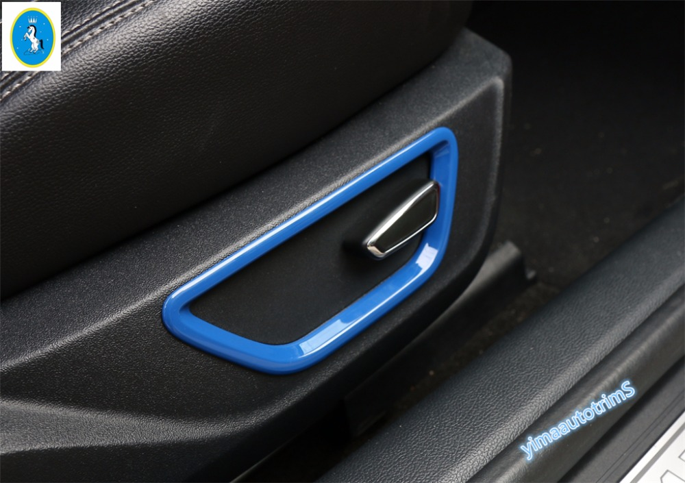 Interior ! 4 Color For Ford Mustang 2015 2016 2017 ABS Seat Adjustment Button Decoration Ring Molding Cover Trim 2 Pcs / Set