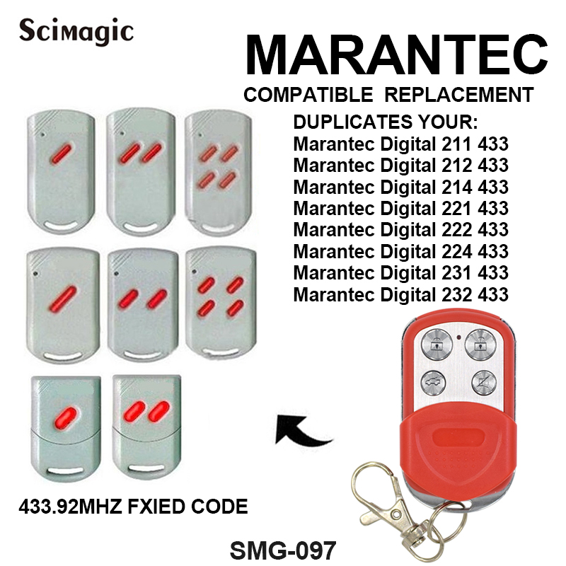 MARANTEC Digital 211/212/214/221/222/224/231/232 433 Replacement Gate Garage Door Remote Transmitter Door Phone Key Duplicator