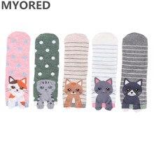 цена на MYORED 5pairs woman short socks cotton cartoon animal for lady casual dress gift socks Calcetines de dibujos animados