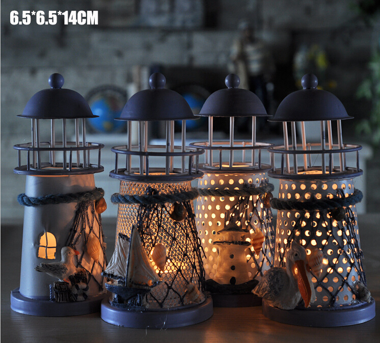 40 pcs New Arrive Mediterranean style lighthouse wrought iron Candlestick Candle holder Home decoration-in Candle Holders from Home & Garden    1