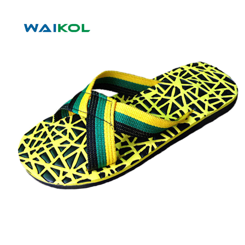 Waikol Durable Summer Men Sandals Comfortable Massage Slippers Indoor & Outdoor Beach Slipper Casual Plaid Flip Flops For Male men beach slipper fashion summer sandals casual shoes toe solid plastic fishermen comfortable water play shoes mc302