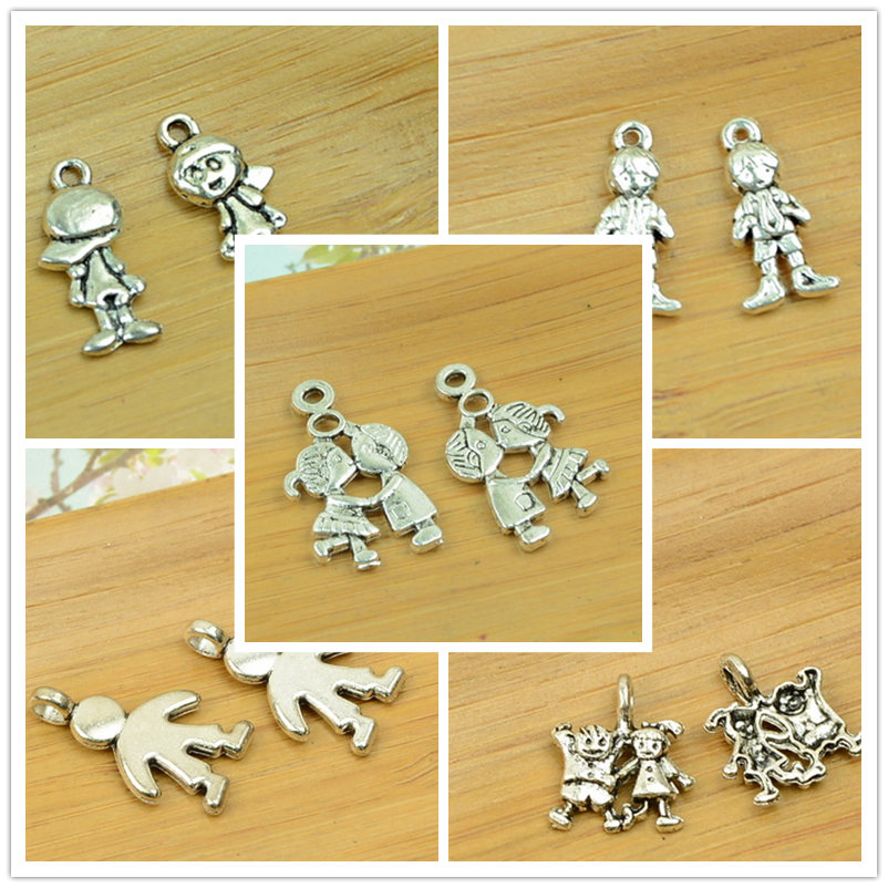 Boy/girl Body Shape DIY Alloy Charm Bracelet Necklace Pendant Antique Silver Vintage Jewelry Making Accessories Findings Beads