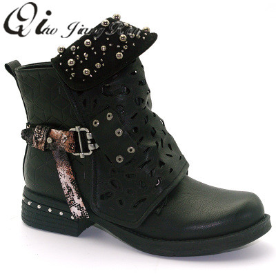 Women s rhinestones winter boots zipper rivet buckle with ankle western  boots cowboy round head women s shoes factory direct 7624d265c235