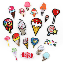 100pcs Sticker On Sweet Ice Cream Patches Embroidered Iron Parches For DIY Cloth Patch Fashion Design Motif Applique Badge
