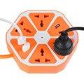 1.7 m cable 4 usb + 4 interruptor de toma de extensión hexagonal orange múltiples formas de toma de corriente interruptor de toma de enchufe de la ue 3 colores