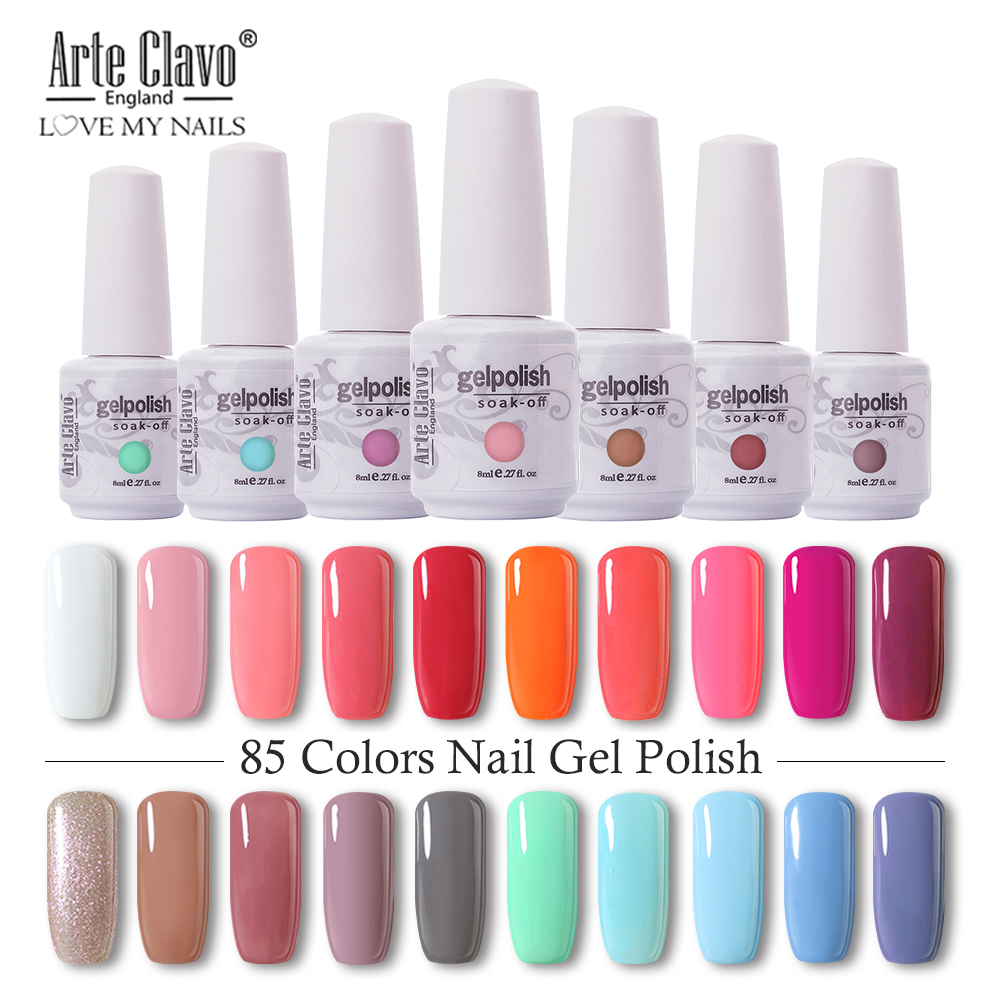 Arte Clavo 8ml Nail Polish Nail Gel Soak off LED UV Hybrid Gel Lacquer Nail Primer Gel Varnish Red Pink Glitter Nail Makeup(China)