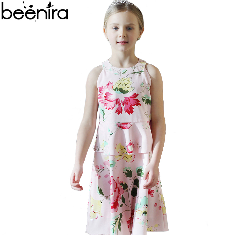BEENIRA Summer Girls Dress Kids Princess Dresses Child Sleeveless Print Draped Knee Length Party Clothing 4y-14y High Quality шильдик awd для kia stinger 2018