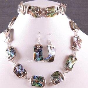 Image 1 - Бесплатная доставка, модные ювелирные изделия, натуральный синий, новая Zealand, абалона, ожерелье, браслет, серьги 1 Набор E819