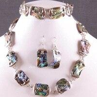 Free Shipping Fashion Jewelry Natural Blue New Zealand Abalone Shell Necklace Bracelet Earrings1Set E819