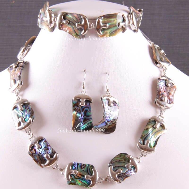 Free Shipping Fashion Jewelry Natural Blue New Zealand Abalone Shell Necklace Bracelet Earrings1Set E819 цена и фото