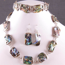 Free Shipping Fashion Jewelry Natural Blue New Zealand Abalone Shell Necklace Bracelet Earrings1Set E819