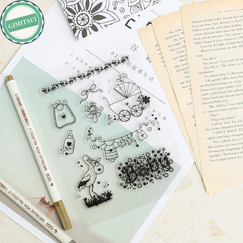 Alphabet Baby Elements Transparent Silicone Clear Rubber Stamp Cling Diary Scrapbooking DIY Photo Album Paper Card Craft Making lovely bear and star design clear transparent stamp rubber stamp for diy scrapbooking paper card photo album decor rm 037