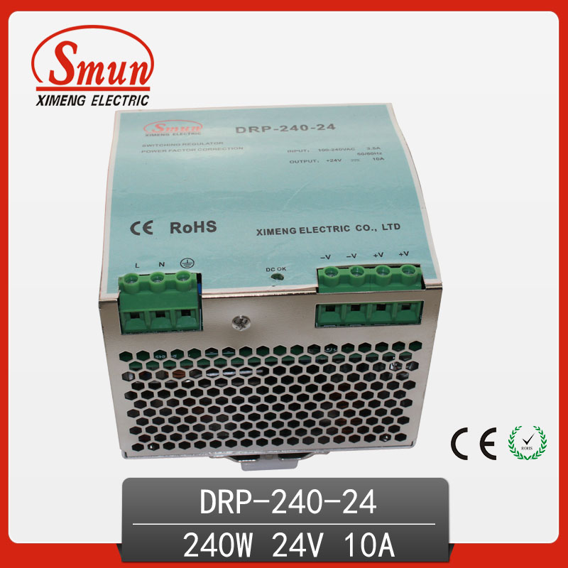 240w 24v 10a Single Output AC-DC industrial Din Rail Switching Mode Power Supply DRP-240-24 With CE RoHS certificate dhl ems md 240 24 1 din rail power supply metal case 24v 10a output 85 264vac input c4 d9