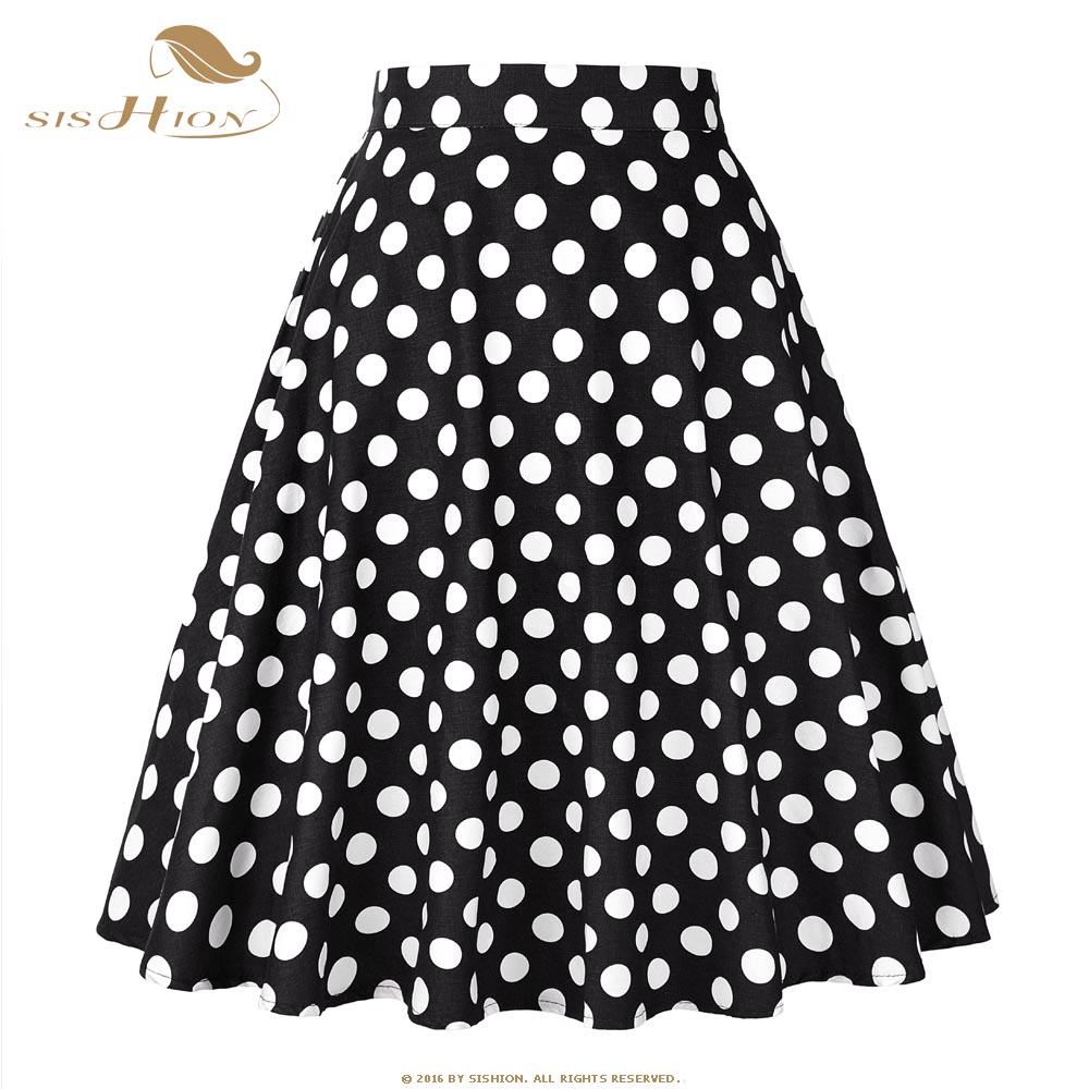 77d3120375bb SISHION Cotton Vintage Skirt Black with White Polka Dots Cotton Retro Swing  High Waist Elegant Skater
