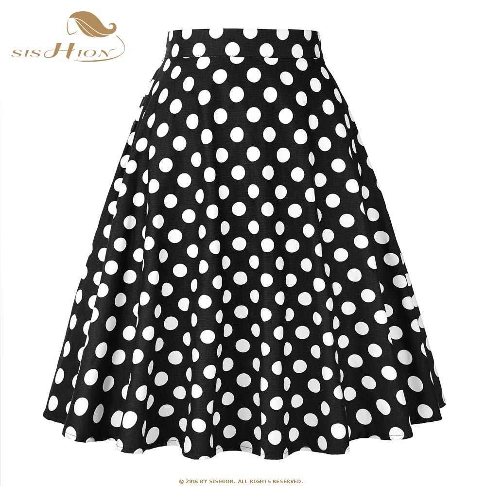 SISHION Vintage Skirt Black with White Polka Dots Cotton Retro Swing High  Waist Elegant Skater Skirt 6066a1fc5201