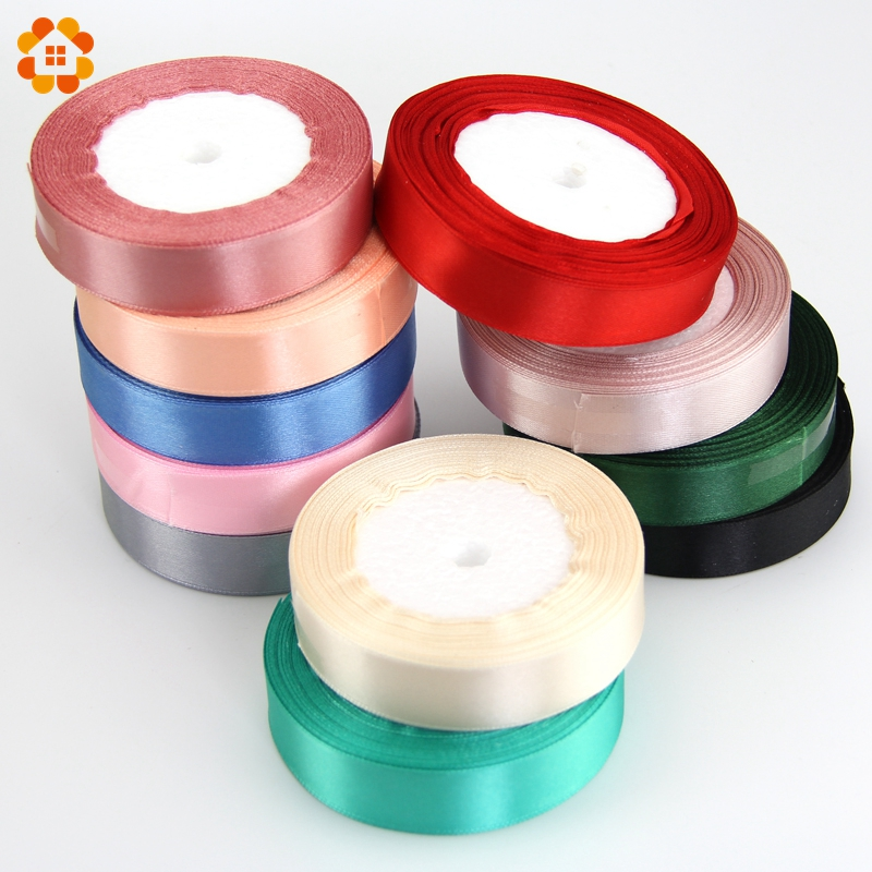 25MM Pretty Silk Satin Ribbon 22M Wedding Party Decoration Invitation Card Gift Wrapping Scrapbooking Supplies Riband 18Colors